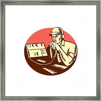 Ham Radio Operator Circle Woodcut Framed Print