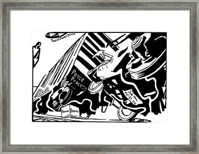 Hamas And The Peace Train By Yonatan Frimer Framed Print by Yonatan Frimer Maze Artist