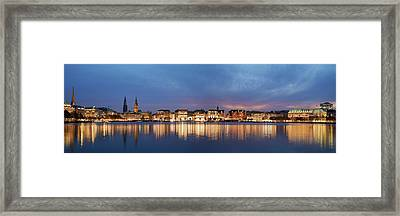 Framed Print featuring the photograph Hamburg Alster Panorama by Marc Huebner