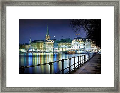 Framed Print featuring the photograph Hamburg At Night by Marc Huebner