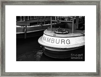 Hamburg Boat Mono Framed Print by John Rizzuto