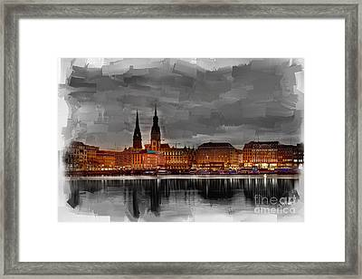 Hamburg Germany Skyline 01 Framed Print