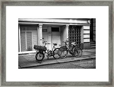 Hamburg House Parking Mono Framed Print