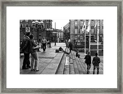 Hamburg Street View Mono Framed Print by John Rizzuto