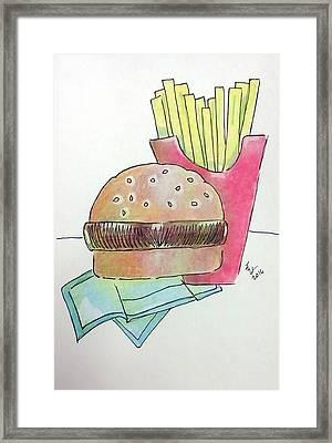 Hamburger With Fries Framed Print by Loretta Nash