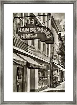 Hamburgers In Indiana Sepia Tone Framed Print by Mel Steinhauer