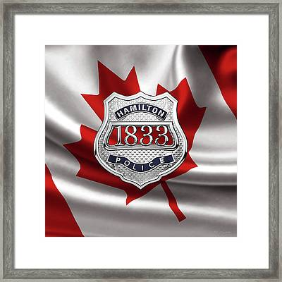 Hamilton Police Service  -  H P S  Commemorative Officer Badge Over Canadian Flag Framed Print