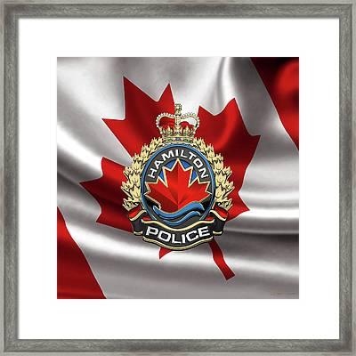 Hamilton Police Service  -  H P S  Emblem Over Canadian Flag Framed Print