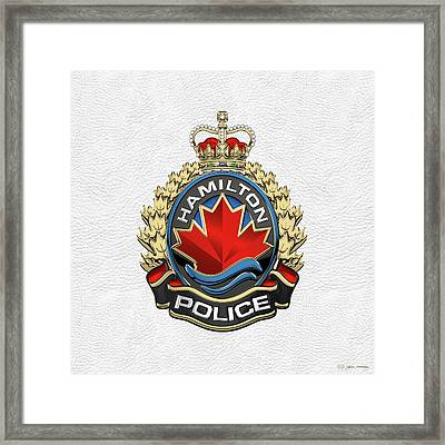 Hamilton Police Service  -  H P S  Emblem Over White Leather Framed Print