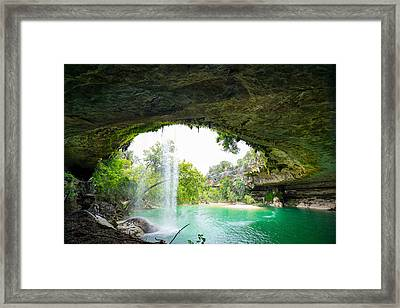 Hamilton Pool In The Summer Colors - Texas Framed Print by Ellie Teramoto