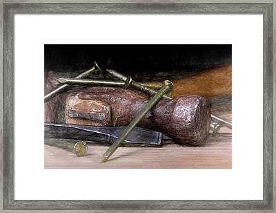 Hammer And Nails Framed Print