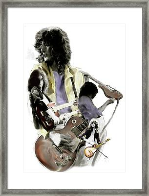 Hammer Of The Gods   Jimmy Page Framed Print by Iconic Images Art Gallery David Pucciarelli