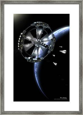 Framed Print featuring the digital art Hammer Station In Earth Orbit by Bryan Versteeg