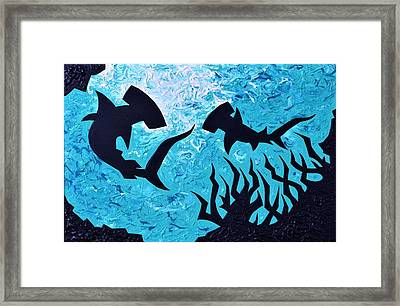 Hammerheads Framed Print by Iron Patriot Woodburning