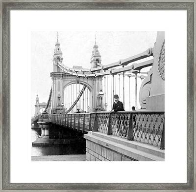 Hammersmith Bridge In London - England - C 1896 Framed Print