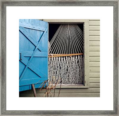 Framed Print featuring the photograph Hammock In Key West Window by Brent L Ander