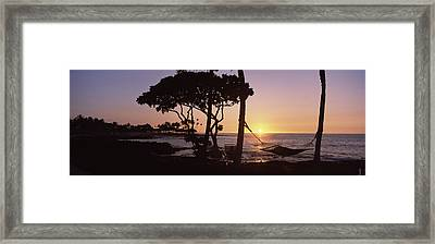 Hammock On The Beach At Sunset Framed Print by Panoramic Images