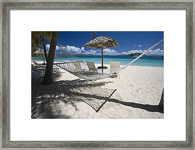 Hammock On The Beach Framed Print