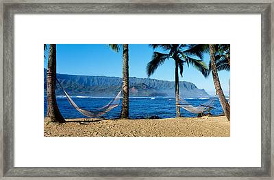 Hammocks Hanalei Bay Kauai Hawaii Framed Print by Panoramic Images