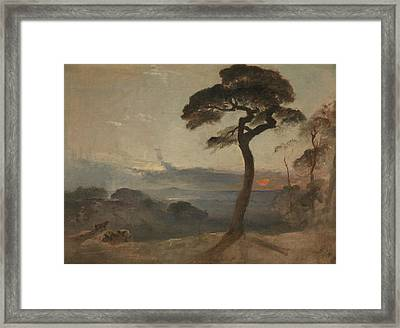Hampstead Heath, Sunset Framed Print by Francis Danby