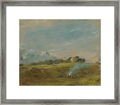 Hampstead Heath With A Bonfire  Framed Print by John Constable