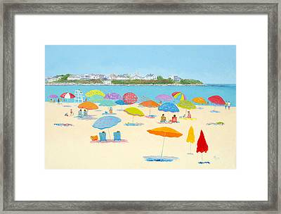 Hampton Beach Umbrellas Framed Print