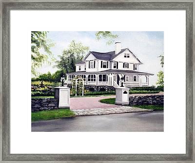 Hampton Home Portrait Framed Print by Gail Wurtz