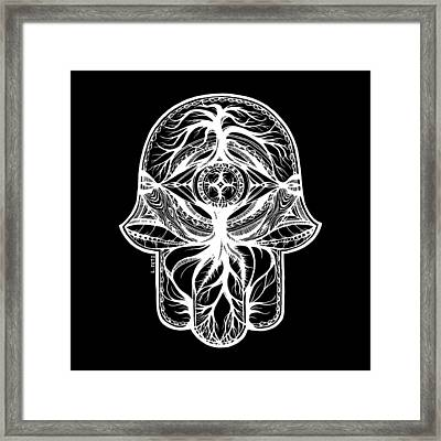 Hamsa - In The Forest, White Framed Print