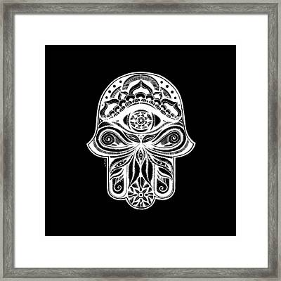 Hamsa - In The Garden, White Framed Print