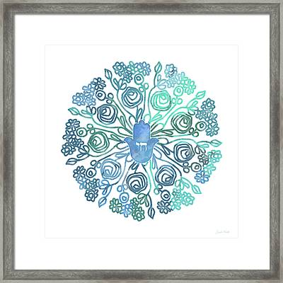 Framed Print featuring the mixed media Hamsa Mandala 1- Art By Linda Woods by Linda Woods