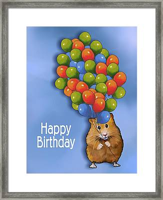 Hamster With Balloons Happy Birthday Framed Print