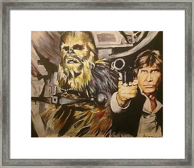 Han And Chewie Framed Print by Brian Child