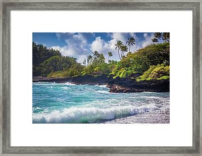 Hana Bay Waves Framed Print by Inge Johnsson