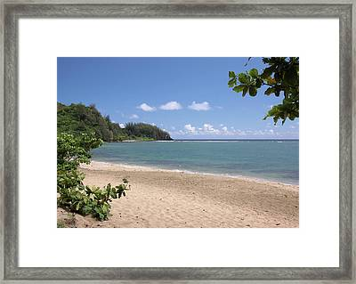 Framed Print featuring the photograph Hanalei Bay Beach by Rau Imaging