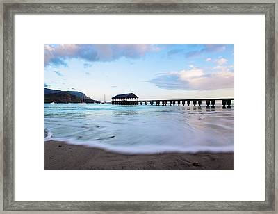 Framed Print featuring the photograph Hanalei Bay Pier At Sunrise by Melanie Alexandra Price