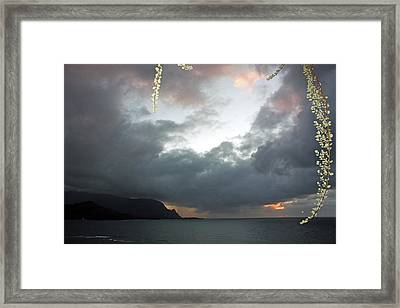 Hanalei Bay Sunset Framed Print by Kathy Yates