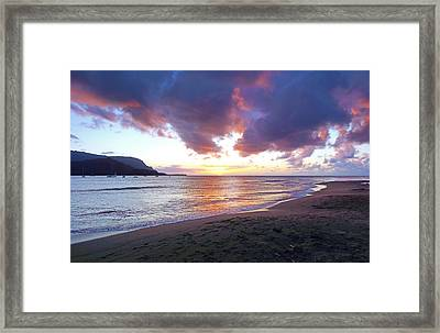 Hanalei Bay Sunset Kauai Framed Print