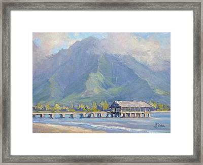 Hanalei Pier Sunset Framed Print