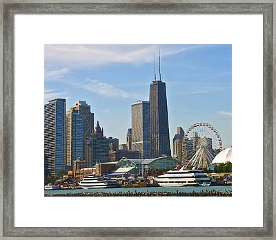 Hancock Over The Pier Framed Print