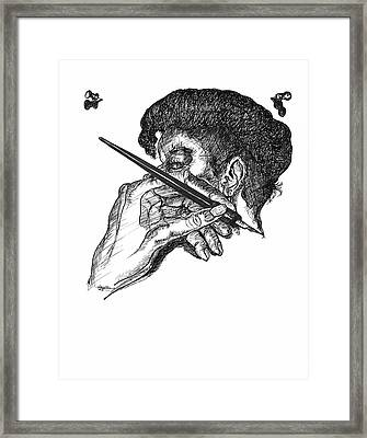 Hand And Pen Framed Print