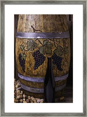 Hand Carved Wine Barrel Framed Print by Garry Gay