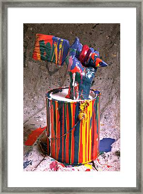 Hand Coming Out Of Paint Can Framed Print by Garry Gay