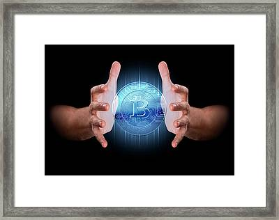 Hand Conjuring Cryptocurrency Framed Print