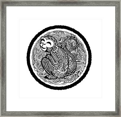 Hand Drawing Monkey Avatar, Chinese Zodiac Sign Framed Print by Pakpong Pongatichat