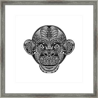 Hand Drawing Monkey Head Avatar, Chinese Zodiac Sign Framed Print by Pakpong Pongatichat