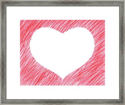 Hand-drawn Red Heart Shape Framed Print