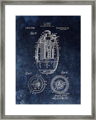 Hand Grenade Patent Drawing Framed Print by Dan Sproul
