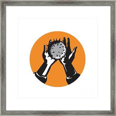 Hand Holding Ball With Spikes Circle Woodcut Framed Print by Aloysius Patrimonio