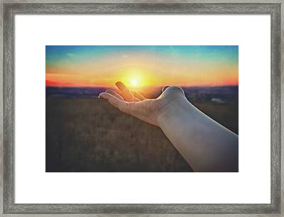 Hand Holding Sun - Sunset At Lapham Peak - Wisconsin Framed Print by Jennifer Rondinelli Reilly - Fine Art Photography