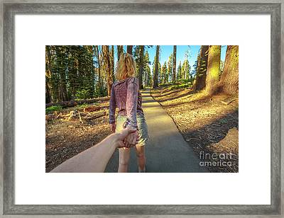 Hand In Hand Sequoia Hiking Framed Print